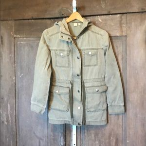 Utility jacket army green hooded